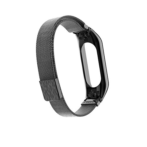 YBWZH Milanese Magnetic Loop Edelstahlarmband für Xiaomi Mi Band 3 Edelstahl Metall Uhrenarmband Magnet Uhrenarmband(Schwarz)