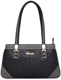 ESBEDA Black & Grey Solid PU Synthetic Handbag For Women