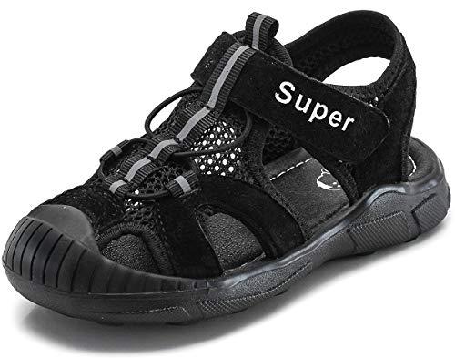 Gaatpot Kinder Sandalen Mädchen Jungen Sport Outdoorsandalen Geschlossene Strand Sandale Schuhe Outdoor Lauflernschuhe Sommer Schwarz 32 EU/31 CN