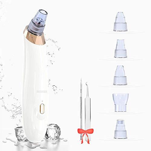 DREIWASSER Mitesserentferner Mitesser Vakuum Entferner Gerät mit 1x Pinzette, 1x Akne Nadel und 5x Saugsonden (Weiß)