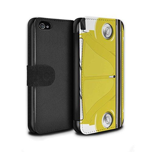 Stuff4 Coque/Etui/Housse Cuir PU Case/Cover pour Apple iPhone 4/4S / Orange Vif Design / Rétro Coccinelle Collection Rallye Jaune