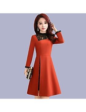 GAOLIM Vestidos Primavera Mujer Costura Imprimación De Manga Larga Falda, 2Xl, Rojo Ladrillo