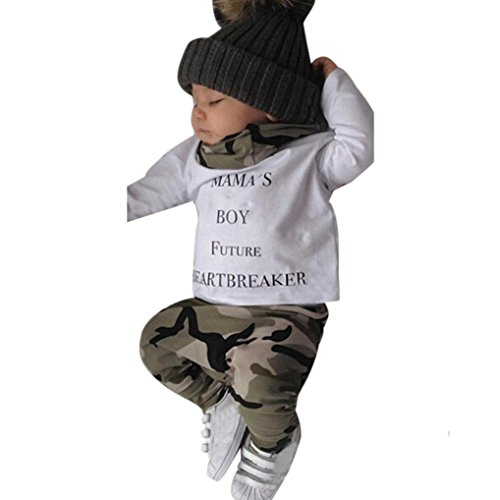 Bekleidung Set Junge Xinan Neugeborenen Kids Baby Boys Outfits Kleidung Letter T-shirt Tops + Camouflage Hose (70, Weiß) (Baby Boys Strickjacke)