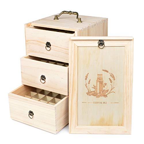 Hölzern 75 Löcher Aromatherapie Aufbewahrungsbox Ätherisches Öl Tasche 3 Schublade mit Abnehmbaren Internes Fach Schmuckschatulle Nagellack Kulturbeutel