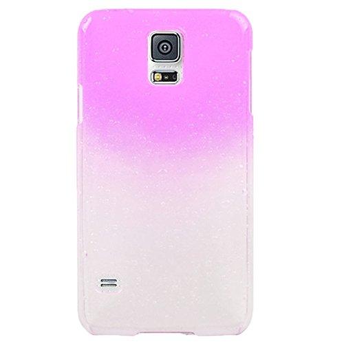 wkae Schutzhülle Case & Cover Gradient Color Series Regentropfen Effekt Transparent Kunststoff Hülle für Samsung Galaxy S5/G900 magenta