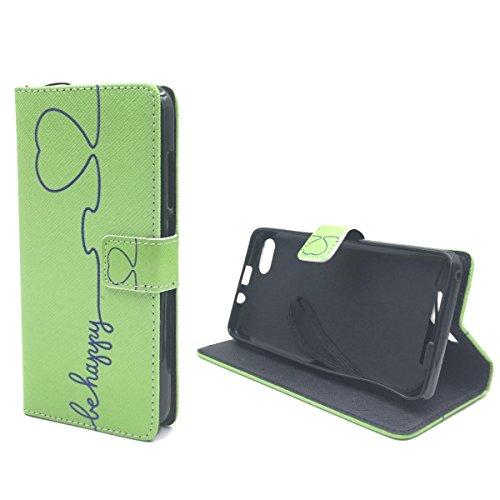 König-Shop Handy Tasche für Apple Flip Cover Case Schutz Hülle Etui Schale Wallet + Panzerglas, Motiv:ROT / WEISS GEPUNKTET, Für Handy:Apple iPhone SE BE HAPPY GRÜN