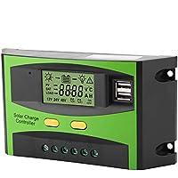Akozon Controlador de Carga Solar PWM Smart Dual USB Impermeable Panel Solar Controlador de Carga Regulador Pantalla LCD 12 V 24 V 20 A