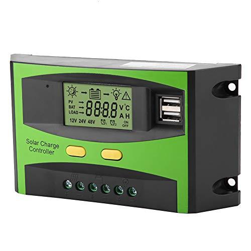 Akozon Solarladeregler PWM Smart Dual USB Wasserdichte Sonnenkollektor Laderegler Regler LCD Anzeige 12 V 24 V 20A