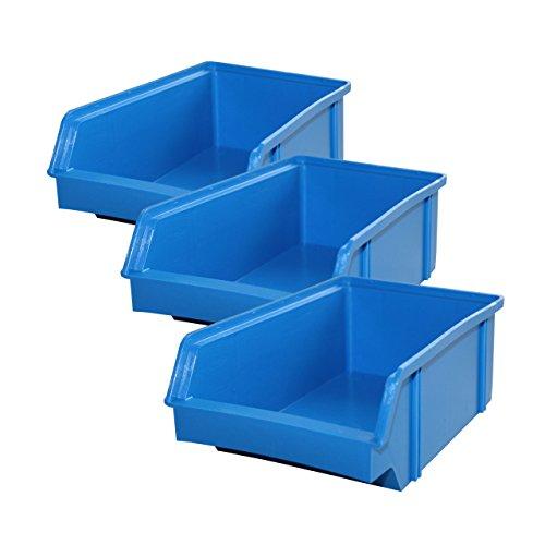 Lantelme 5606 Stapelboxen 10 Stück - Kunststoff Sichtlagerkasten stapelbar Farbe blau aus deutscher Herstellung