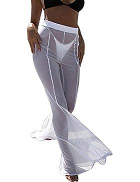 DOGZI Pantalones Mujer Playa Malla Escarpado Cubrir Trajes de baño Transparente Pantalón Largo Pantalones Bikini...