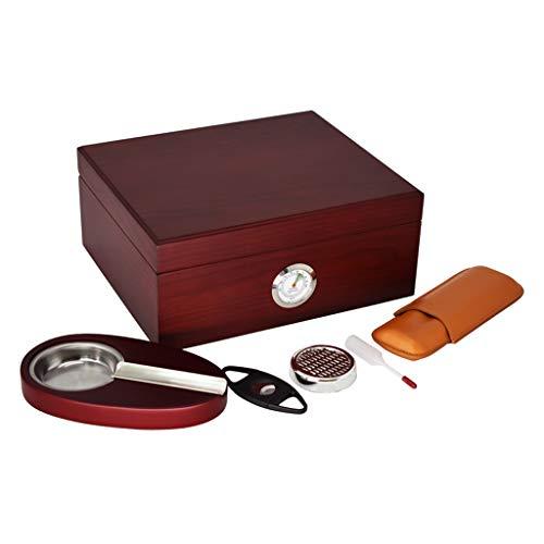 Zigarren Humidor Zigarrenluftbefeuchter Zigarrenschachtel Große Kapazität Zigarrenschrank Zigarettenschachtel Zedernholzfutter mit Luftbefeuchter und Hygrometer mit Einem Zigarrenabschneider und Einem -
