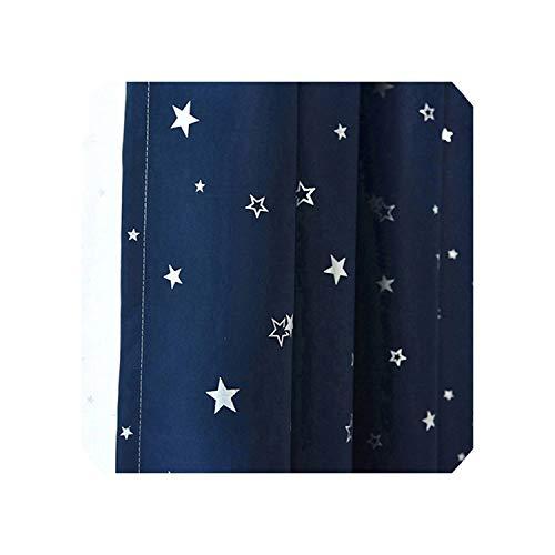 Glänzende Sterne-Kind-Tuch Gardinen für Kinder Jungen-Mädchen-Schlafzimmer Wohnzimmer Blau/Rosa Blackout Cortinas Drape, Farbe 7 Tuch, 1pc W200CM X H260CM, Haken -