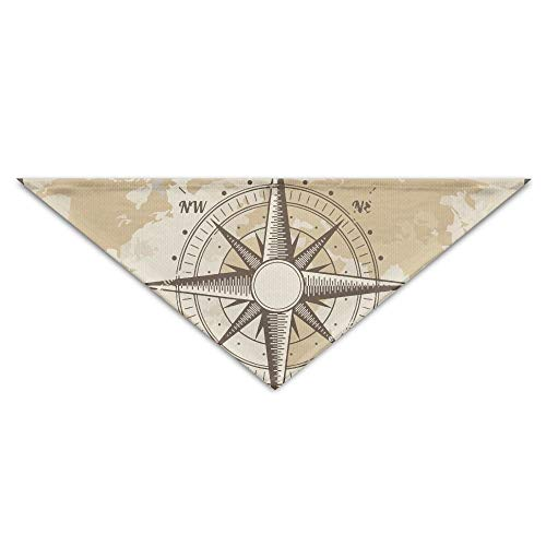 FGJGHKGH Halstuch, Vintage-Stil, nautischer Kompass, Alte Weltkarte, für Hunde und Katzen, Dreieck, Kopftuch Zubehör -