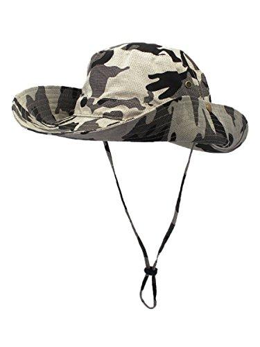 Outfly Damen Herren Outdoor Sonnenschutz Bucket Hut Fischerhut Baumwolle Two Way to Wear für Kopfumfang 55-62 cm Khaki Camouflage