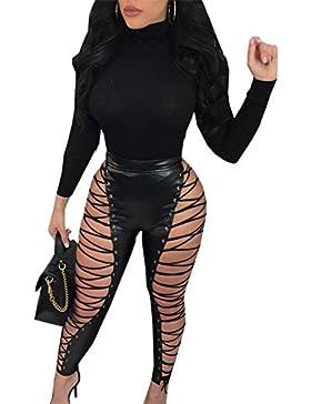 Las Mujeres De Encaje PU De Cuero De Imitacion Legging Pantalones De Cintura Alta Clubwear