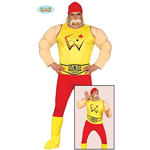 NET TOYS Hulk Hogan Kostüm Ringer Herrenkostüm Wrestler L (52/54) Wrestling Outfit Muskelkostüm