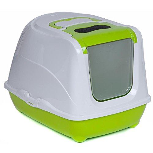 Katzentoilette mit Dach oder Rand verschiedene Größen und Farben (Flip Cat 57 Grün)