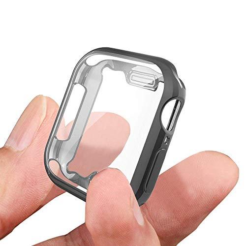 KTcos für Apple Watch 44mm Hülle, TPU Displayschutzfolie Allround-Schutzhülle High Definition Transparent Ultradünne Hülle für Apple Watch Serie 4 Smartwatch (44MM, Schwarz)