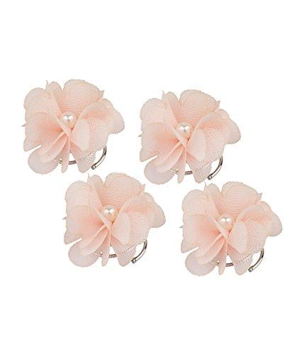 SIX 'Blumen' Damen Haarschmuck, Haar Spiralen aus textilen Blumen in rosa mit weißen Perlen, Hochsteckfrisur (488-205)