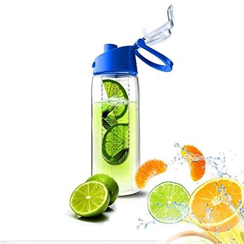 Fruchtschorlen 800 ml Infuser Wasserflasche Kunststoff Sportflasche Mode Bottle Verschiedene Farben erhältlich BPA-frei Blau (Infuser Trinkflasche Gelb)