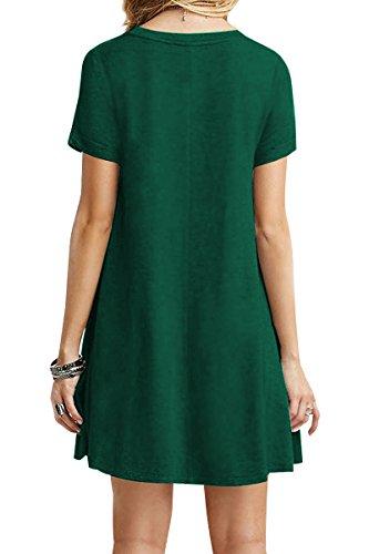 YMING Damen Casual Langes Shirt Lose Tunika Kurzarm T-Shirt Kleid 24 Farbe,XS-XXXXL(32-50) Armeegrün