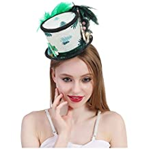 FengHe Moda Micro Mini Sombrero de Copa Sombrero Blanco y Verde 65f4b8172b8