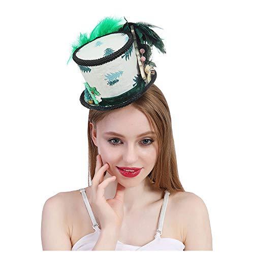 SANHENGMIAO STORE Für Damenhüte Santa Minirock Zylinder, Worthless Sweater Hut, Mad Tea Party Hut, Micro Minirock Zylinder Hut weiß und grün (Farbe : Green, Größe : 25-30CM)