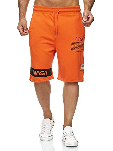Red Bridge Herren Shorts Kurze Hose Sweat Pants Jogginghose NASA Logo USA M4854 Orange S