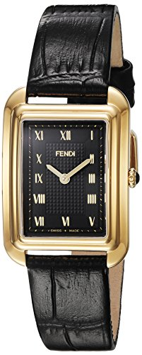 Fendi Women's Black Leather Band Gold Tone Steel Case Swiss Quartz Analog Watch F700431011