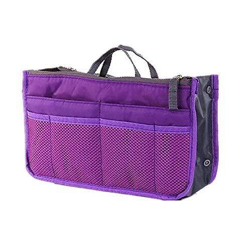Ducomi® organizzatore per borsa con 13 tasche capienti - organizer espandibile con doppio manico per documenti, telefono, trucco, chiavi a portata di mano - prodotto originale spedito da it (purple)