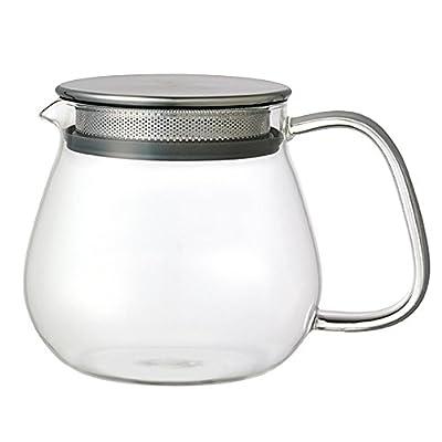 Kinto Unitea inoxydable One Touch Théière 460ml. résistant à la chaleur Théière en verre avec filtre en acier inoxydable et couvercle.