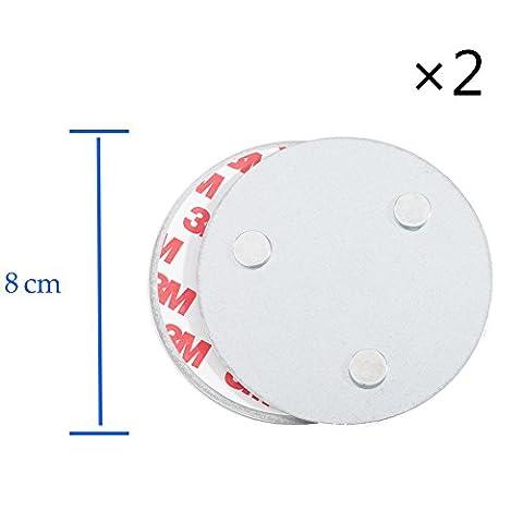 Hmtool Magnetic Smoke Detector Installationswerkzeug, Schnell und einfach Befestigung Deckenmontage Kit für Rauchmelder, kein Benötigter Bohrer Nein Gefahr 10 Sekunden Einbau (8cm, 3 Magnet, 2Stk)