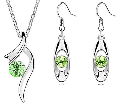 SaySure - 18K GP zircon pendant necklace earrings bracelet
