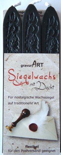 gravurART - Siegelwachs mit Docht - 3 Stangen - Schwarz
