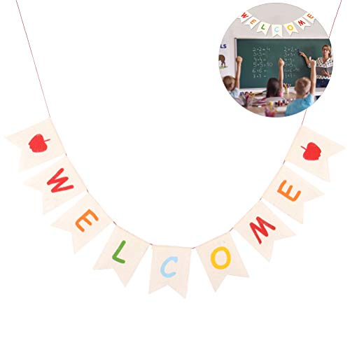 Welcome Banner Sign Rustic Burlap Hanging Bunting Home Decor for Back to School Classroom Birthday Wedding Baby Shower -