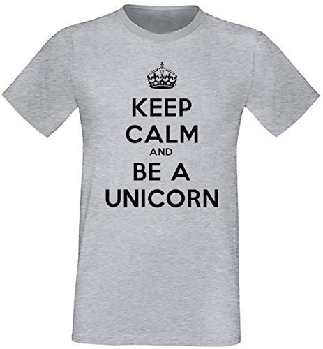 Keep Calm And Be A Unicorn Uomo T-shirt Grigio Cotone Girocollo Maniche Corte Grey Men's T-shirt