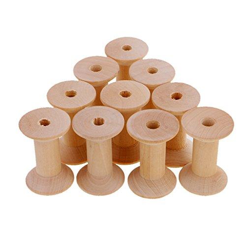 Sharplace 10 Stücke Natürliche Holz Leere Faden Spulen Nähen Bobbins Nähwerkzeuge