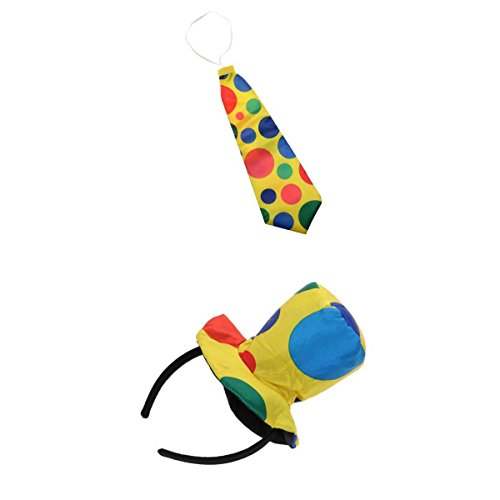 Kostüm Polka Zirkus Dot - Gazechimp Bunt Clown Hut Haarreif + Krawatte Zirkus Party Kostüm Set