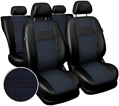 Carpendo Sitzbezüge Auto Set Autositzbezüge Schonbezüge Vordersitze und Rücksitze mit Airbag System Schwarz - Blau - Exclusive E6