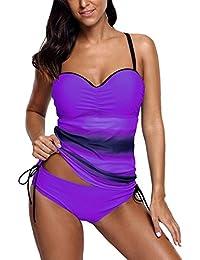 5fa733a510232 DOKOTOO Womens Padded Bandeau Tankini Set 2pcs Color Block Striped Swimsuit