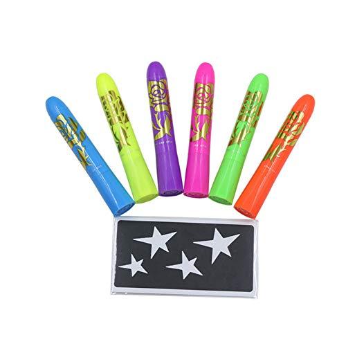6 Farben Gesicht malen Crayons Malerei Kits Luminous Crayons Gesicht für Halloween Waschbar Gesichts-Farben-Drehbare Crayons Kit für Kinder Kostüme für die Herstellung von 1 - Crayon Kostüm Kinder