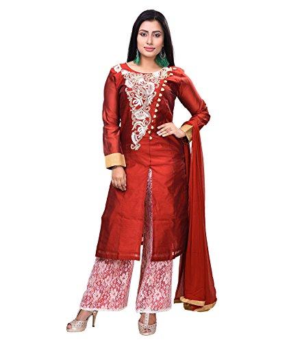 Vedika Creations Red Colour Georgette Anarkali Salwar Kameez.