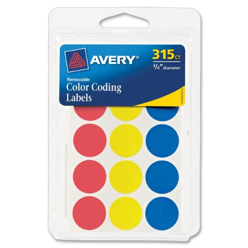 """Color Coding Labels, 3/4"""" Dia., Removable, 306/PK, Assorted, Sold as 1 Package"""