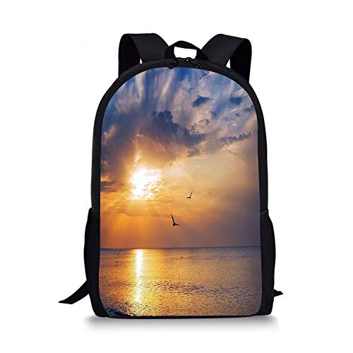 School Bags Birds,Early Morning Sunrise Over The Ocean and a Bird Horizon Nature Panoramic View,Blue and Orange for Boys&Girls Mens Sport Daypack -