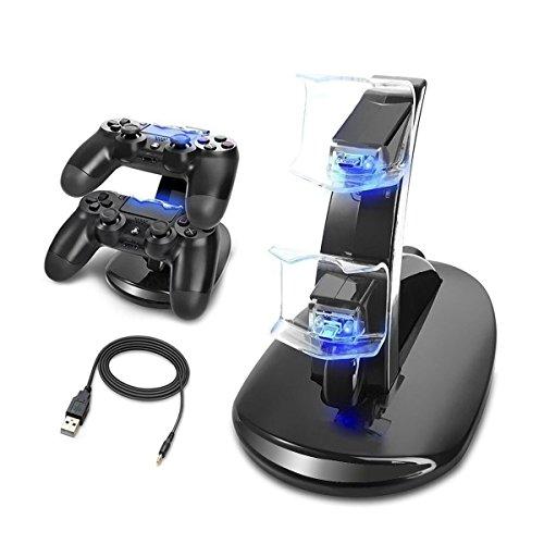 13 - MINLUK Cargador Mando PS4 Soporte PS4 Doble USB de Carga con el Indicador del LED para Sony Playstation 4 / PS4 Pro / PS4 Slim