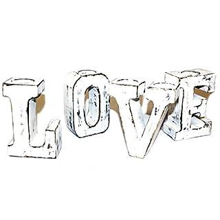 3D Love Große Buchstaben weißwaschung Rustikales Design Kerze Gefäßes AWD