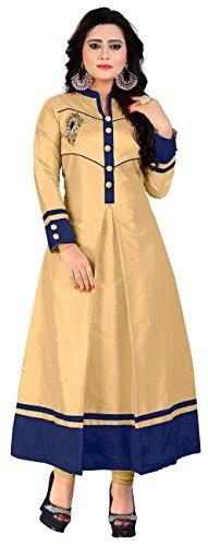 MT Women's Taffeta Silk Party Wear Long Kurti (MT-108 xl_Beige_x-large)