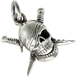 Calavera pirata colgante de plata 925