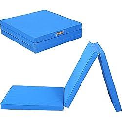 Triple Plegable Ejercicio Yoga Gimnasia Alfombrilla, 6 ft Grande Plegable Ejercicio Mat 5 cm de Grosor Estiramiento Yoga Mat con Cosido Asas para Gimnasio Crash Secadora Pista Yoga Pilates
