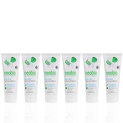 NEOBIO Zahncreme ohne Fluorid (6 X 75 Ml), Rosmarin Und Zaubernuss Geschmack, Bio Zahnpasta, Vegan, Fluoridfrei, Naturkosmetik